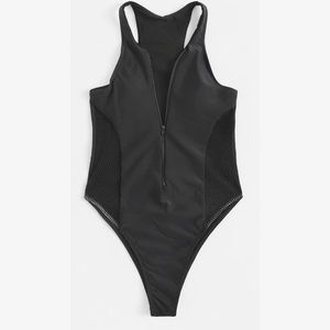 Black Zippered Lace Side One Piece